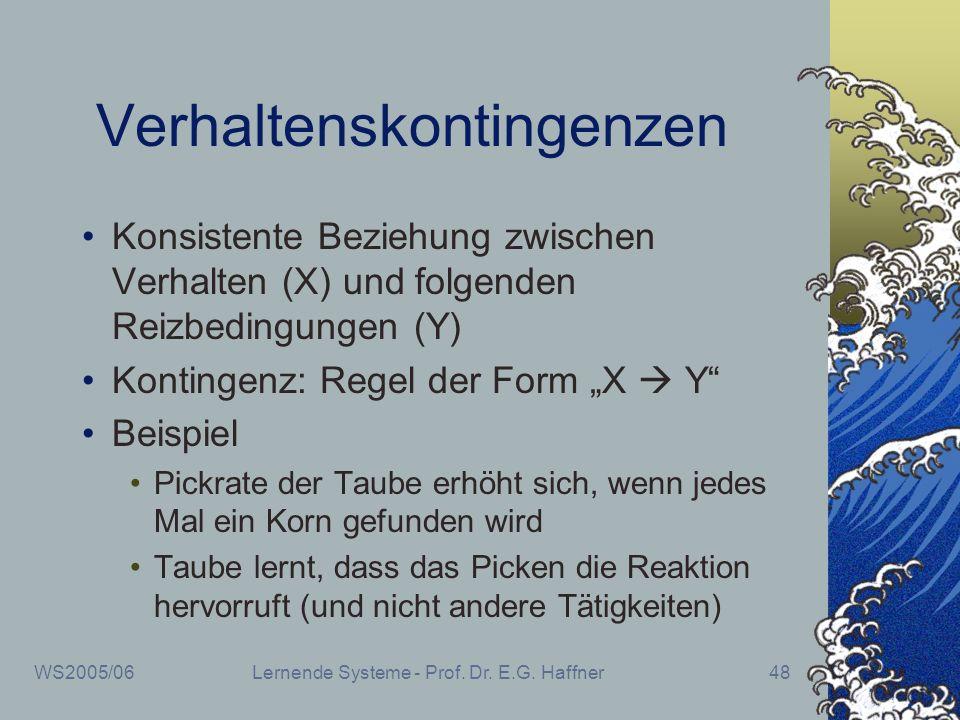 WS2005/06Lernende Systeme - Prof. Dr. E.G. Haffner48 Verhaltenskontingenzen Konsistente Beziehung zwischen Verhalten (X) und folgenden Reizbedingungen