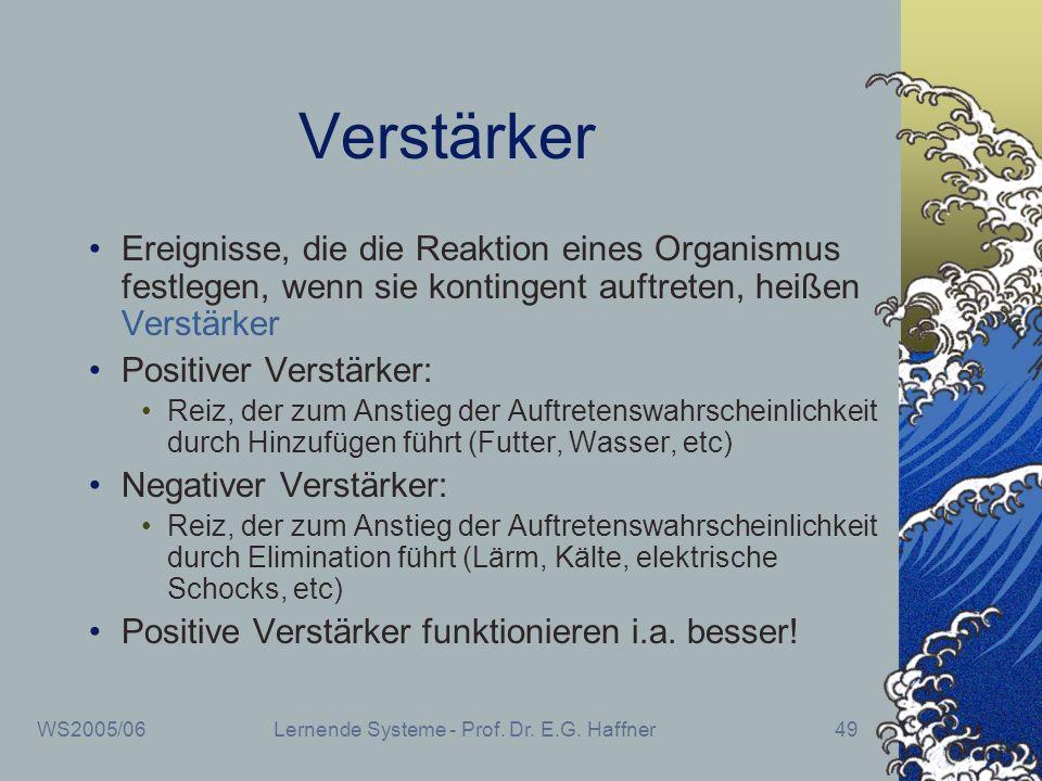 WS2005/06Lernende Systeme - Prof. Dr. E.G. Haffner49 Verstärker Ereignisse, die die Reaktion eines Organismus festlegen, wenn sie kontingent auftreten