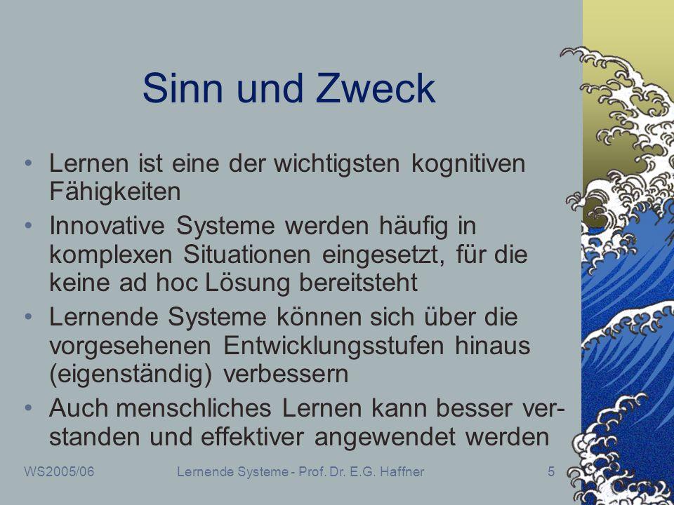 WS2005/06Lernende Systeme - Prof. Dr. E.G. Haffner5 Sinn und Zweck Lernen ist eine der wichtigsten kognitiven Fähigkeiten Innovative Systeme werden hä
