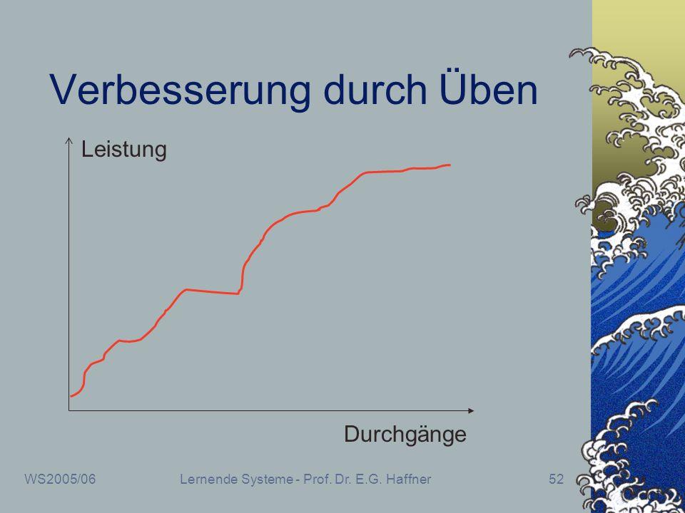 WS2005/06Lernende Systeme - Prof. Dr. E.G. Haffner52 Verbesserung durch Üben Durchgänge Leistung