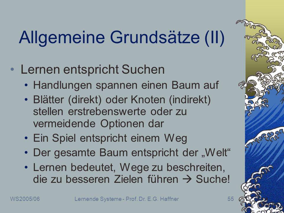 WS2005/06Lernende Systeme - Prof. Dr. E.G. Haffner55 Allgemeine Grundsätze (II) Lernen entspricht Suchen Handlungen spannen einen Baum auf Blätter (di