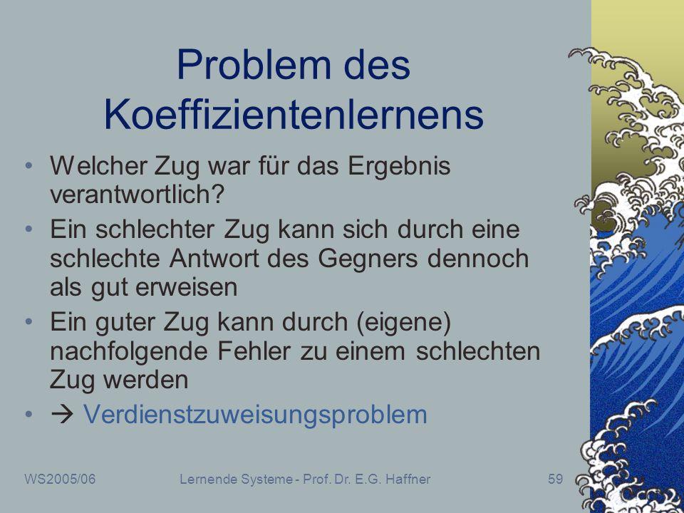 WS2005/06Lernende Systeme - Prof. Dr. E.G. Haffner59 Problem des Koeffizientenlernens Welcher Zug war für das Ergebnis verantwortlich? Ein schlechter
