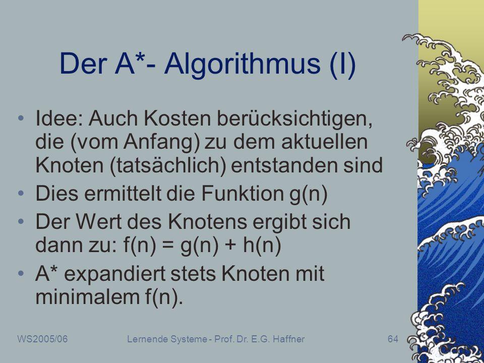 WS2005/06Lernende Systeme - Prof. Dr. E.G. Haffner64 Der A*- Algorithmus (I) Idee: Auch Kosten berücksichtigen, die (vom Anfang) zu dem aktuellen Knot