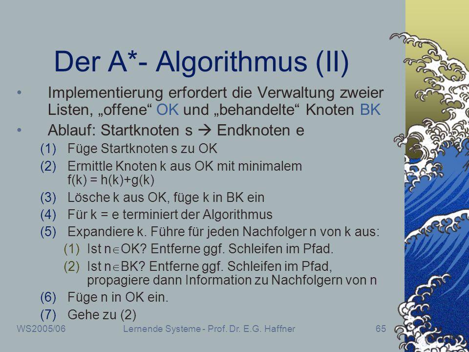 WS2005/06Lernende Systeme - Prof. Dr. E.G. Haffner65 Der A*- Algorithmus (II) Implementierung erfordert die Verwaltung zweier Listen, offene OK und be
