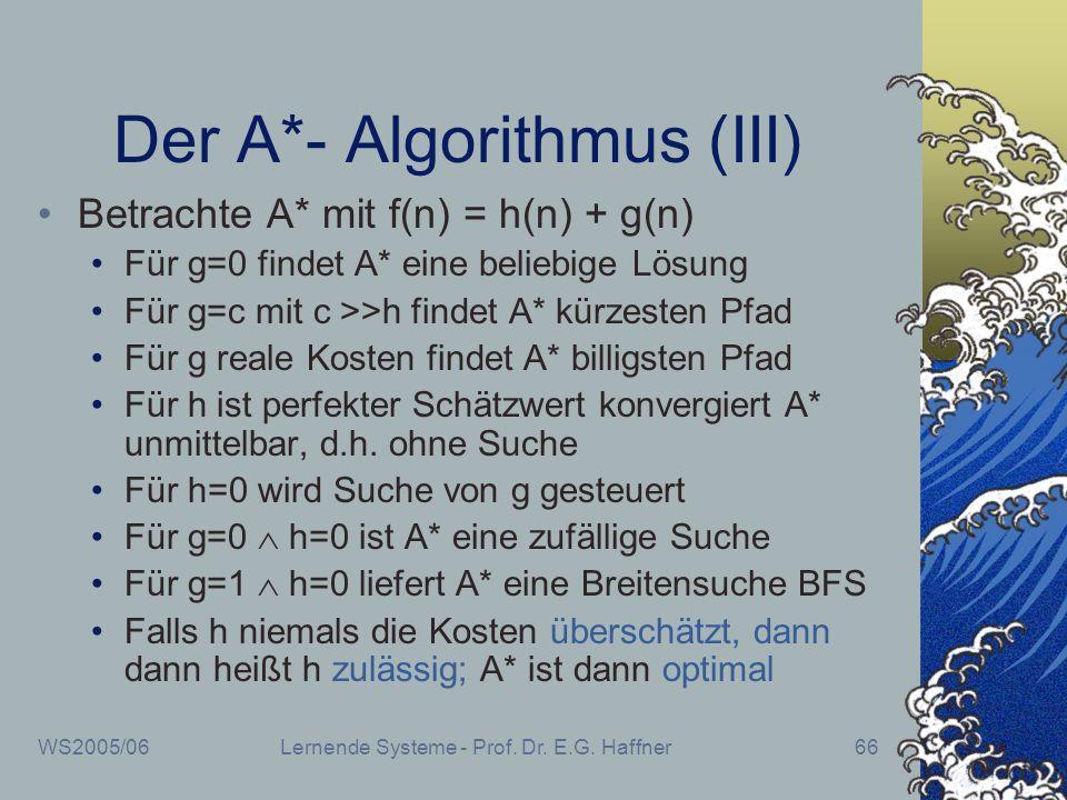 WS2005/06Lernende Systeme - Prof. Dr. E.G. Haffner66 Der A*- Algorithmus (III) Betrachte A* mit f(n) = h(n) + g(n) Für g=0 findet A* eine beliebige Lö