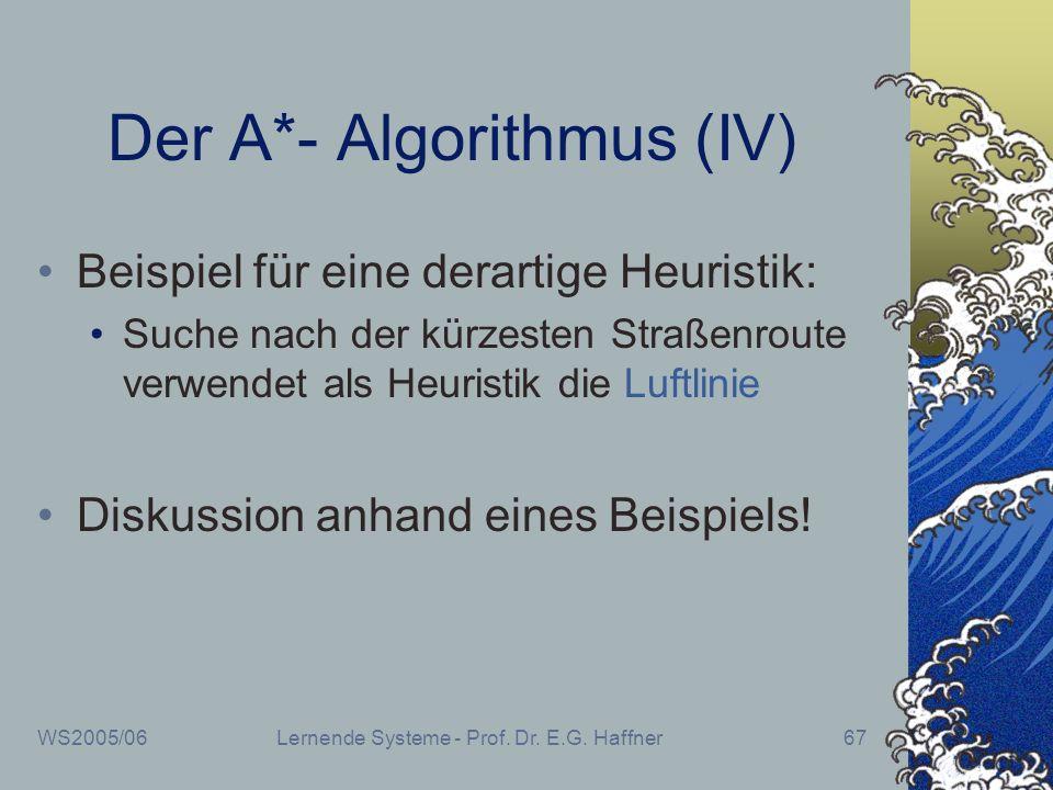 WS2005/06Lernende Systeme - Prof. Dr. E.G. Haffner67 Der A*- Algorithmus (IV) Beispiel für eine derartige Heuristik: Suche nach der kürzesten Straßenr