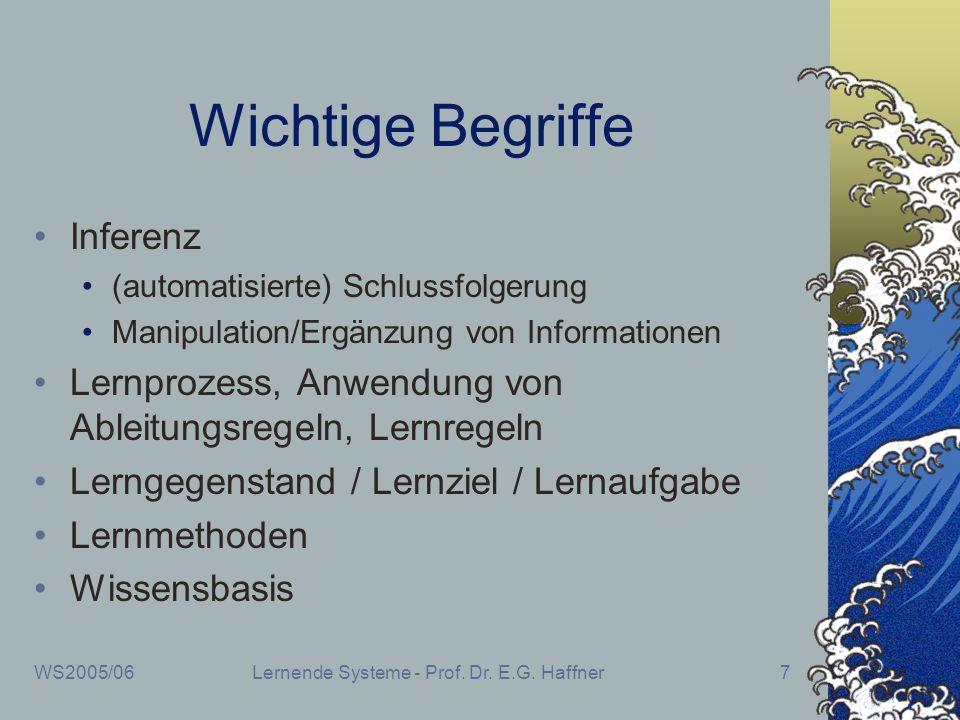 WS2005/06Lernende Systeme - Prof. Dr. E.G. Haffner7 Wichtige Begriffe Inferenz (automatisierte) Schlussfolgerung Manipulation/Ergänzung von Informatio