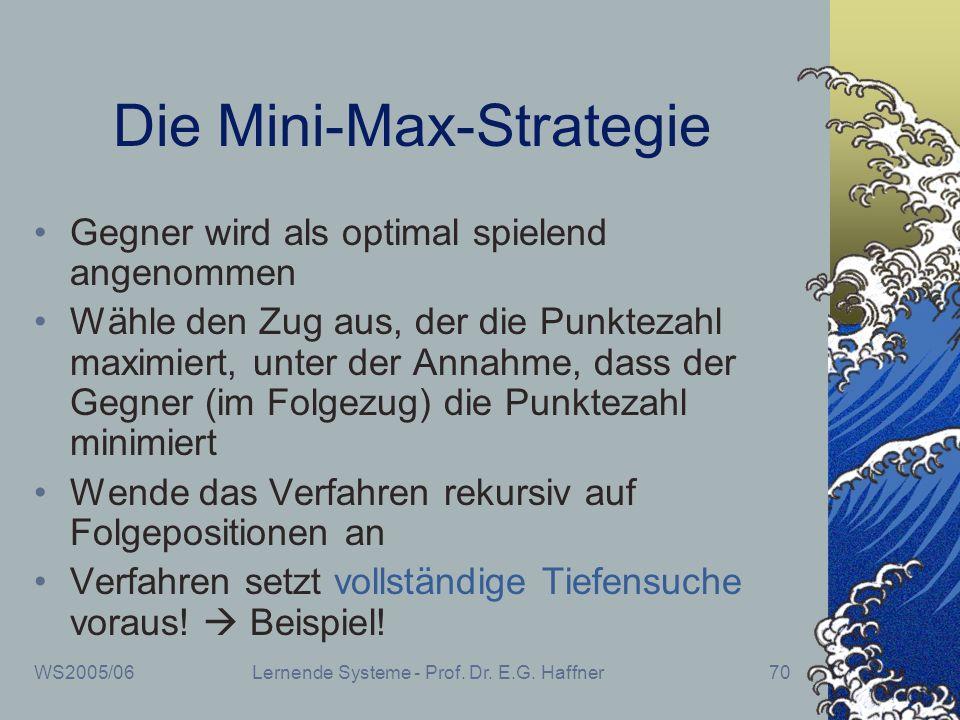 WS2005/06Lernende Systeme - Prof. Dr. E.G. Haffner70 Die Mini-Max-Strategie Gegner wird als optimal spielend angenommen Wähle den Zug aus, der die Pun