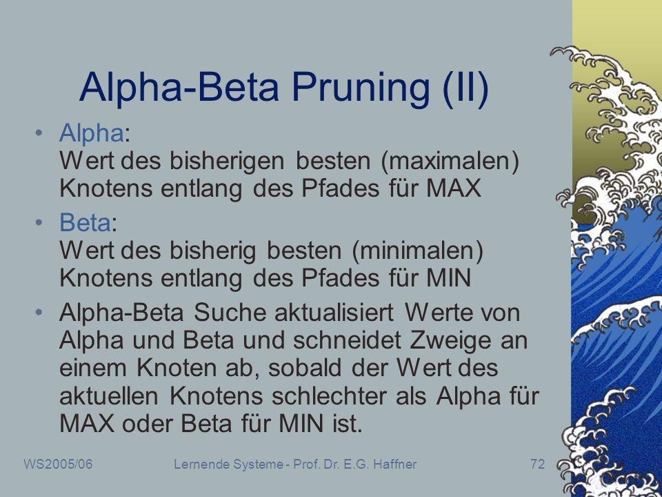 WS2005/06Lernende Systeme - Prof. Dr. E.G. Haffner72 Alpha-Beta Pruning (II) Alpha: Wert des bisherigen besten (maximalen) Knotens entlang des Pfades