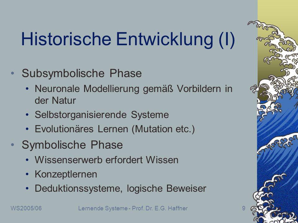 WS2005/06Lernende Systeme - Prof. Dr. E.G. Haffner9 Historische Entwicklung (I) Subsymbolische Phase Neuronale Modellierung gemäß Vorbildern in der Na