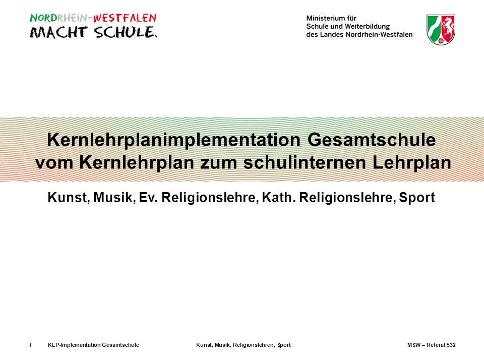 KLP-Implementation GesamtschuleKunst, Musik, Religionslehren, SportMSW – Referat 5321 Kernlehrplanimplementation Gesamtschule vom Kernlehrplan zum sch