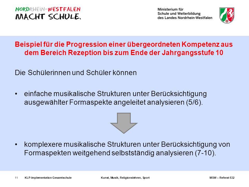 KLP-Implementation GesamtschuleKunst, Musik, Religionslehren, SportMSW – Referat 53211 Beispiel für die Progression einer übergeordneten Kompetenz aus