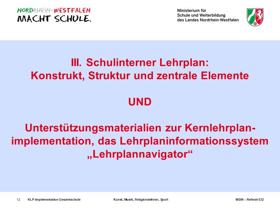 KLP-Implementation GesamtschuleKunst, Musik, Religionslehren, SportMSW – Referat 53212 III. Schulinterner Lehrplan: Konstrukt, Struktur und zentrale E