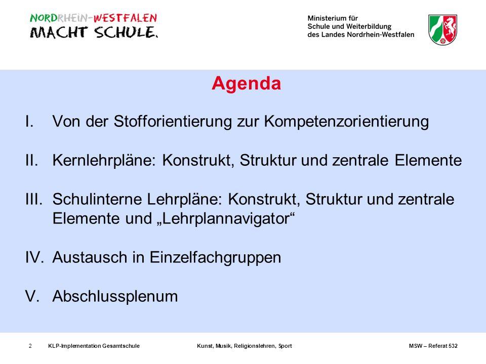 KLP-Implementation GesamtschuleKunst, Musik, Religionslehren, SportMSW – Referat 5322 I.Von der Stofforientierung zur Kompetenzorientierung II.Kernleh