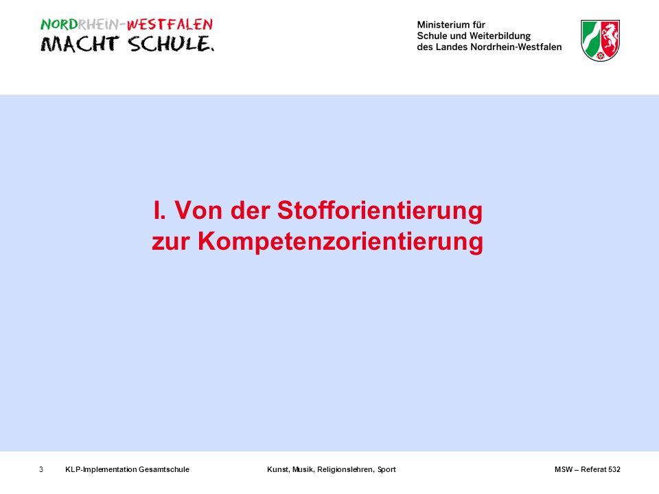 KLP-Implementation GesamtschuleKunst, Musik, Religionslehren, SportMSW – Referat 5323 I. Von der Stofforientierung zur Kompetenzorientierung