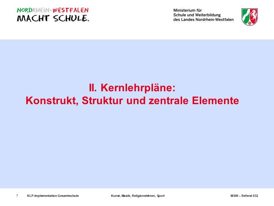 KLP-Implementation GesamtschuleKunst, Musik, Religionslehren, SportMSW – Referat 5327 II. Kernlehrpläne: Konstrukt, Struktur und zentrale Elemente