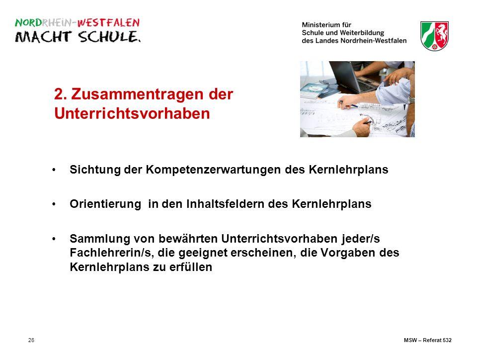 26 2. Zusammentragen der Unterrichtsvorhaben Sichtung der Kompetenzerwartungen des Kernlehrplans Orientierung in den Inhaltsfeldern des Kernlehrplans