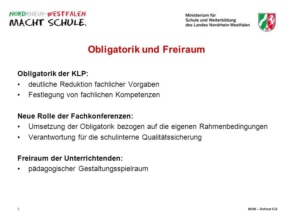 3 Obligatorik und Freiraum Obligatorik der KLP: deutliche Reduktion fachlicher Vorgaben Festlegung von fachlichen Kompetenzen Neue Rolle der Fachkonfe