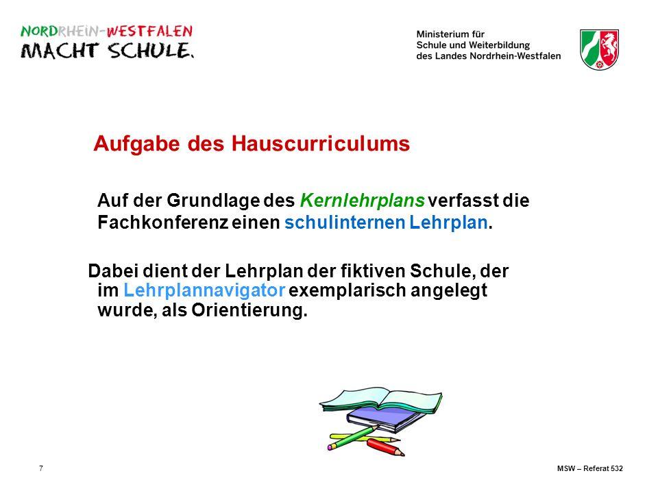 7 Aufgabe des Hauscurriculums Auf der Grundlage des Kernlehrplans verfasst die Fachkonferenz einen schulinternen Lehrplan. Dabei dient der Lehrplan de
