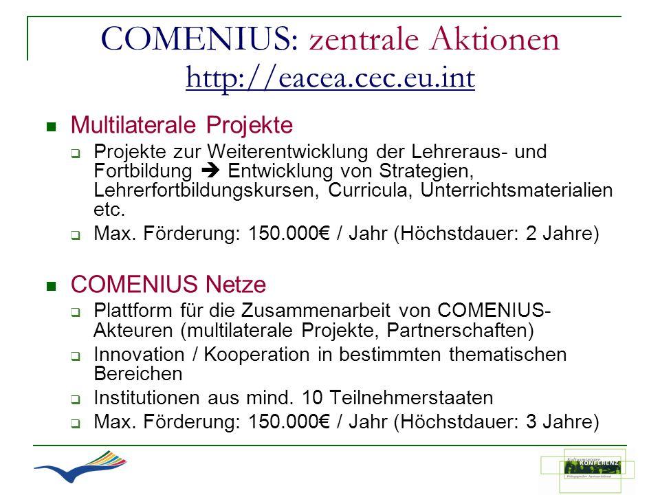COMENIUS: zentrale Aktionen http://eacea.cec.eu.int http://eacea.cec.eu.int Multilaterale Projekte Projekte zur Weiterentwicklung der Lehreraus- und F