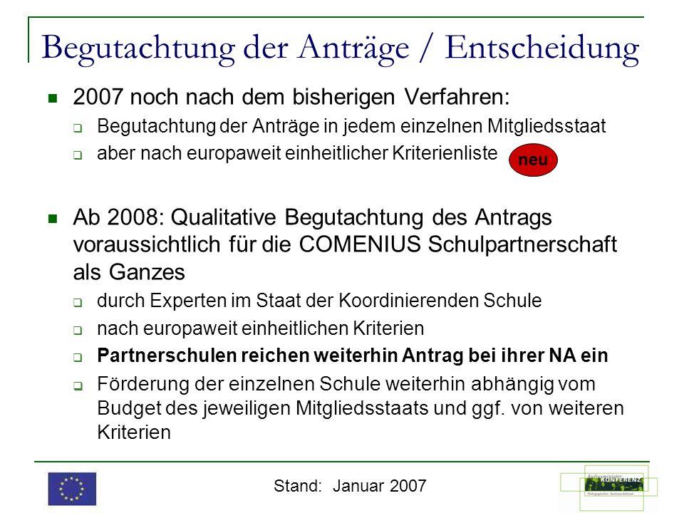 Begutachtung der Anträge / Entscheidung 2007 noch nach dem bisherigen Verfahren: Begutachtung der Anträge in jedem einzelnen Mitgliedsstaat aber nach
