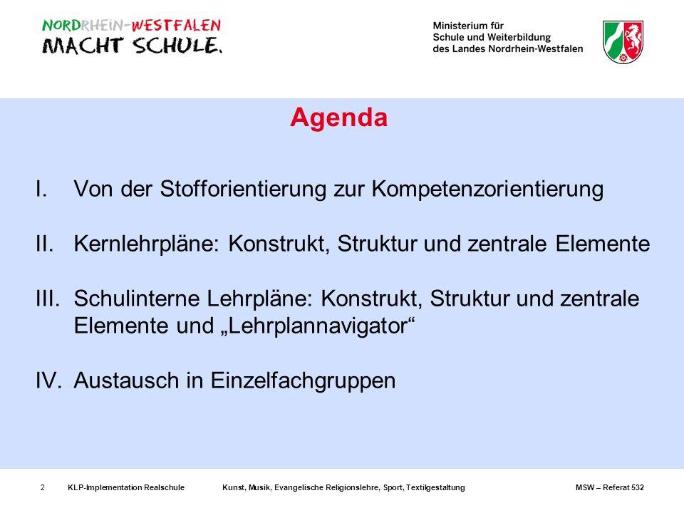 KLP-Implementation RealschuleKunst, Musik, Evangelische Religionslehre, Sport, TextilgestaltungMSW – Referat 5323 I.