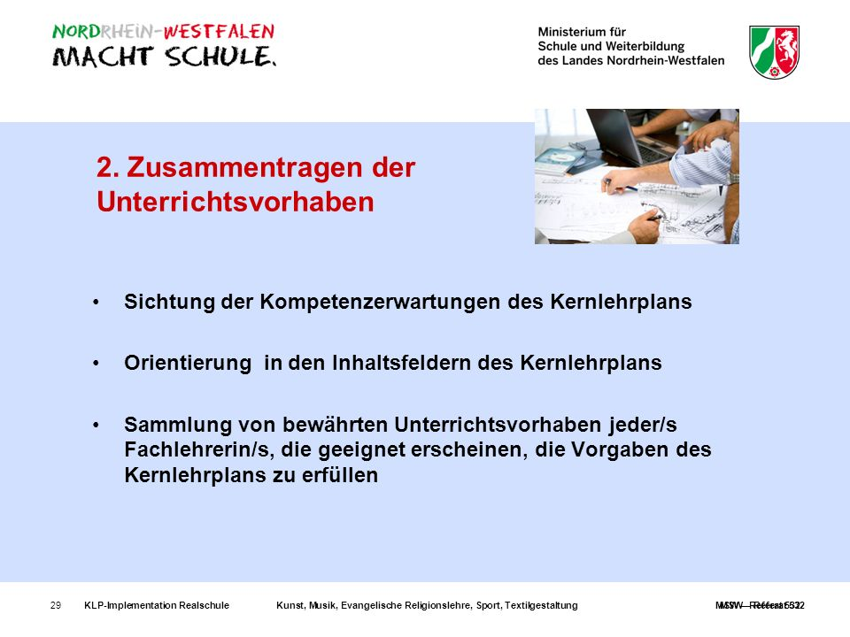 KLP-Implementation RealschuleKunst, Musik, Evangelische Religionslehre, Sport, TextilgestaltungMSW – Referat 53229 2. Zusammentragen der Unterrichtsvo