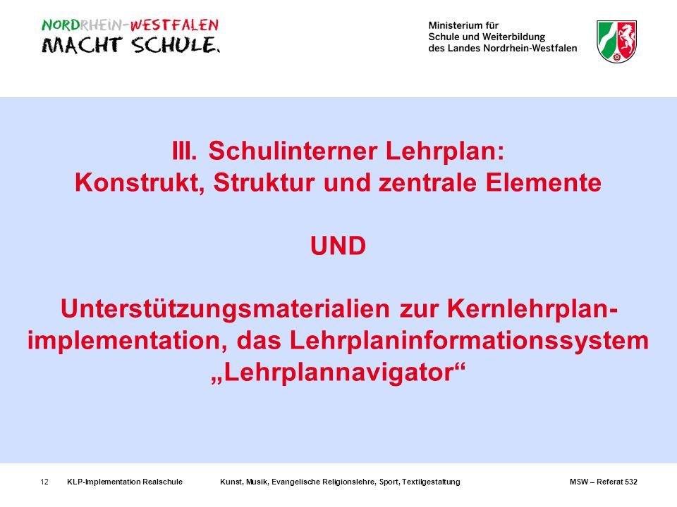 KLP-Implementation RealschuleKunst, Musik, Evangelische Religionslehre, Sport, TextilgestaltungMSW – Referat 53212 III. Schulinterner Lehrplan: Konstr