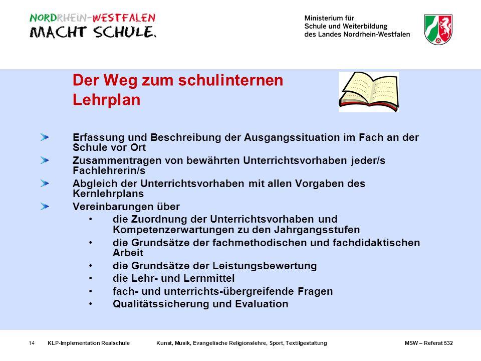 KLP-Implementation RealschuleKunst, Musik, Evangelische Religionslehre, Sport, TextilgestaltungMSW – Referat 53214 Der Weg zum schulinternen Lehrplan