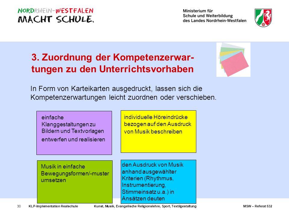 KLP-Implementation RealschuleKunst, Musik, Evangelische Religionslehre, Sport, TextilgestaltungMSW – Referat 53230 3. Zuordnung der Kompetenzerwar- tu