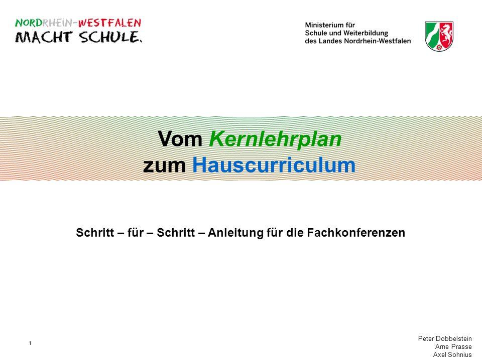 Peter Dobbelstein Arne Prasse Axel Sohnius 1 Vom Kernlehrplan zum Hauscurriculum Schritt – für – Schritt – Anleitung für die Fachkonferenzen
