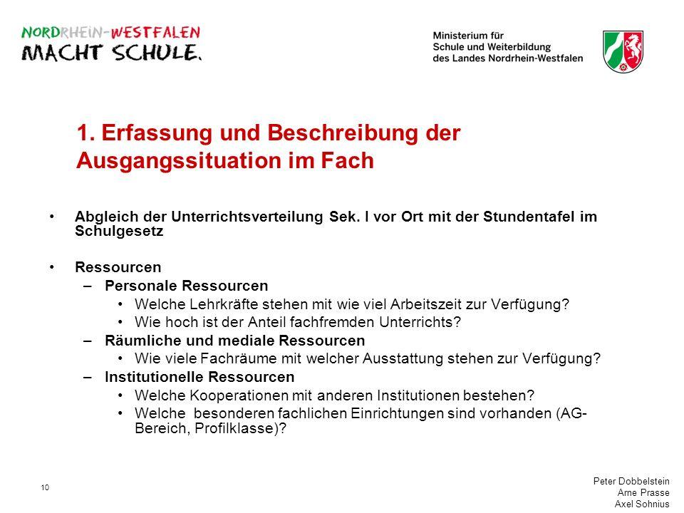Peter Dobbelstein Arne Prasse Axel Sohnius 10 1. Erfassung und Beschreibung der Ausgangssituation im Fach Abgleich der Unterrichtsverteilung Sek. I vo