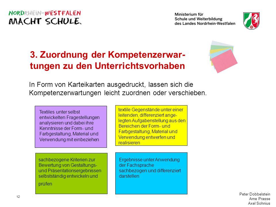 Peter Dobbelstein Arne Prasse Axel Sohnius 12 3. Zuordnung der Kompetenzerwar- tungen zu den Unterrichtsvorhaben In Form von Karteikarten ausgedruckt,