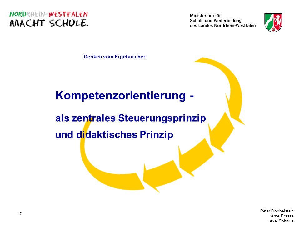 Peter Dobbelstein Arne Prasse Axel Sohnius 17 als zentrales Steuerungsprinzip und didaktisches Prinzip Denken vom Ergebnis her: Kompetenzorientierung