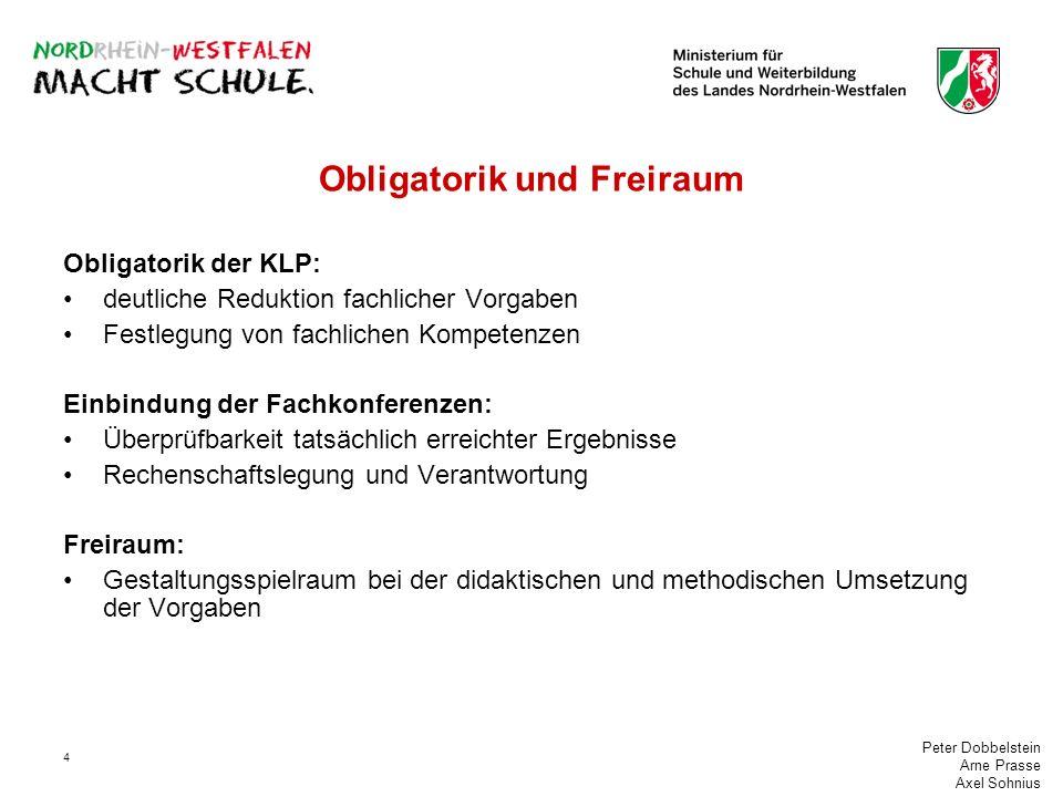 Peter Dobbelstein Arne Prasse Axel Sohnius 4 Obligatorik und Freiraum Obligatorik der KLP: deutliche Reduktion fachlicher Vorgaben Festlegung von fach