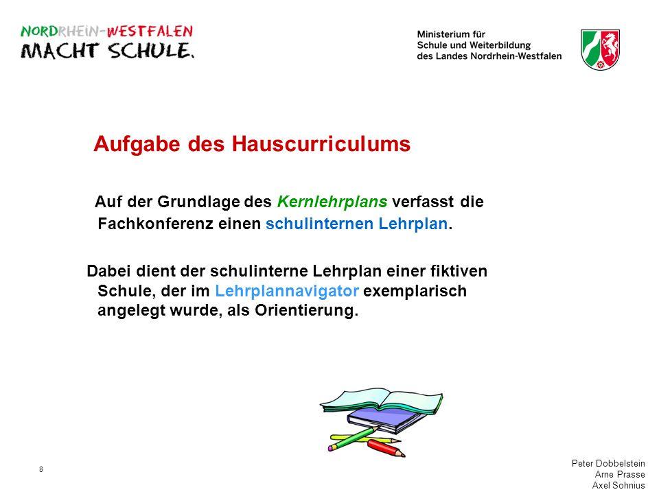 Peter Dobbelstein Arne Prasse Axel Sohnius 8 Aufgabe des Hauscurriculums Auf der Grundlage des Kernlehrplans verfasst die Fachkonferenz einen schulint
