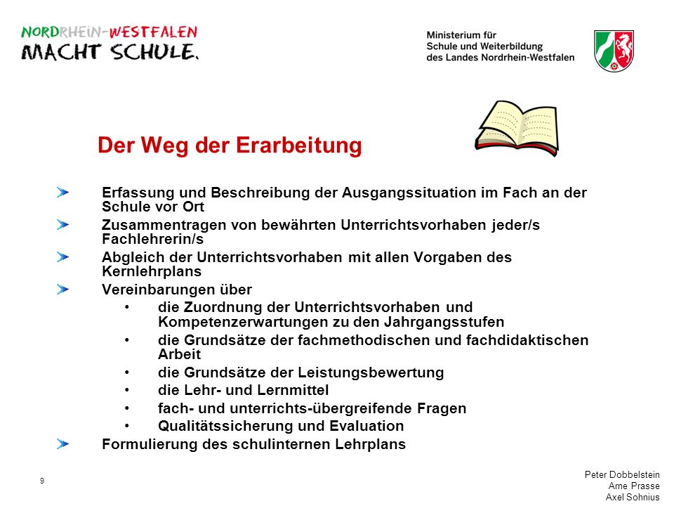 Peter Dobbelstein Arne Prasse Axel Sohnius 9 Der Weg der Erarbeitung Erfassung und Beschreibung der Ausgangssituation im Fach an der Schule vor Ort Zu
