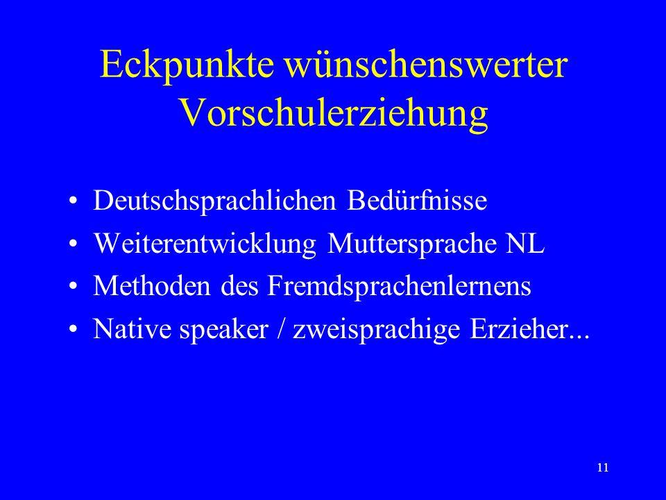 11 Eckpunkte wünschenswerter Vorschulerziehung Deutschsprachlichen Bedürfnisse Weiterentwicklung Muttersprache NL Methoden des Fremdsprachenlernens Native speaker / zweisprachige Erzieher...
