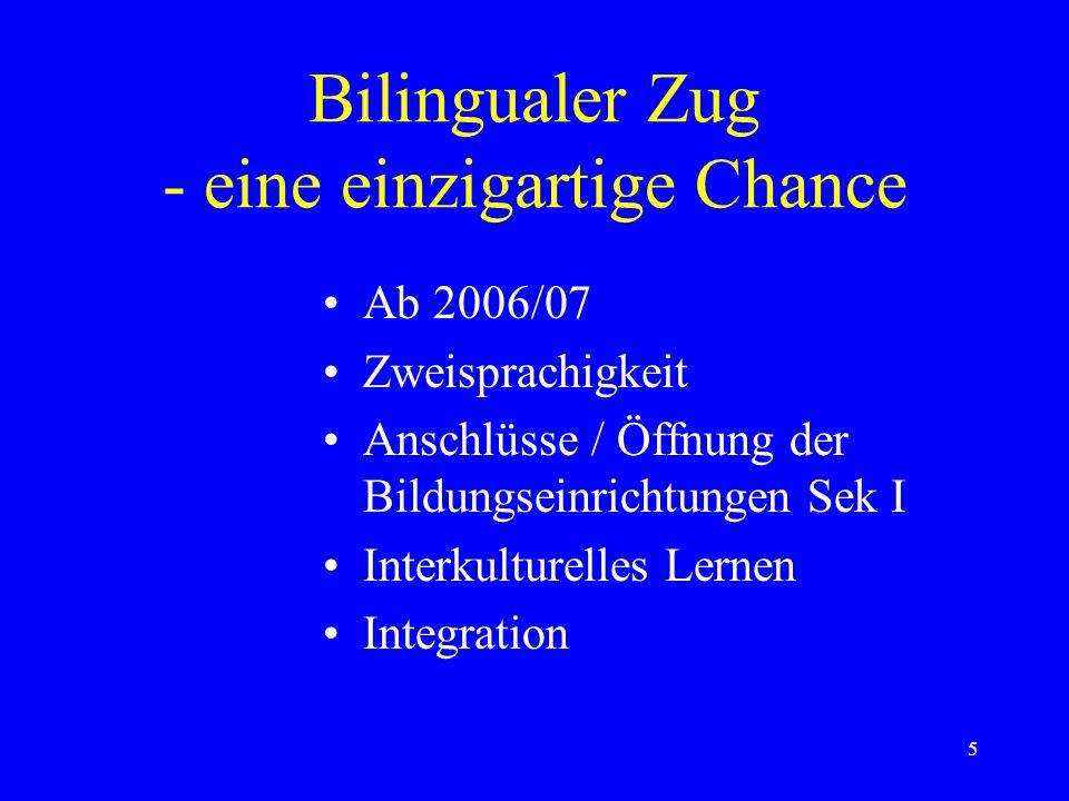 5 Bilingualer Zug - eine einzigartige Chance Ab 2006/07 Zweisprachigkeit Anschlüsse / Öffnung der Bildungseinrichtungen Sek I Interkulturelles Lernen Integration