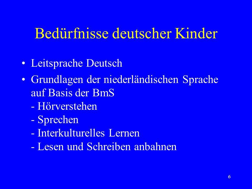 6 Bedürfnisse deutscher Kinder Leitsprache Deutsch Grundlagen der niederländischen Sprache auf Basis der BmS - Hörverstehen - Sprechen - Interkulturelles Lernen - Lesen und Schreiben anbahnen