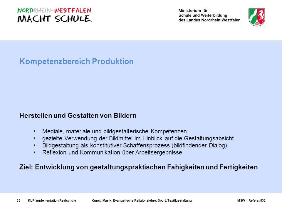 KLP-Implementation RealschuleKunst, Musik, Evangelische Religionslehre, Sport, TextilgestaltungMSW – Referat 53223 Kompetenzbereich Produktion Herstel
