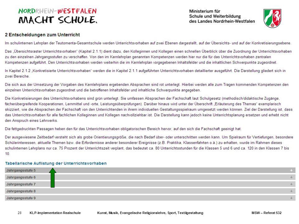 KLP-Implementation RealschuleKunst, Musik, Evangelische Religionslehre, Sport, TextilgestaltungMSW – Referat 53228