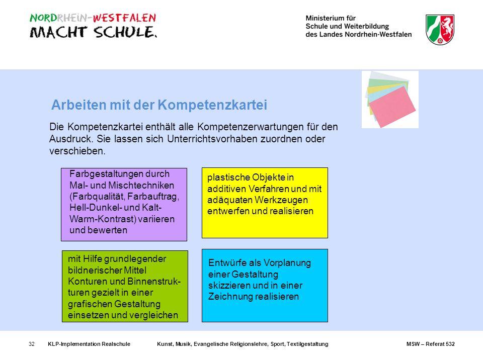 KLP-Implementation RealschuleKunst, Musik, Evangelische Religionslehre, Sport, TextilgestaltungMSW – Referat 53232 Arbeiten mit der Kompetenzkartei Di