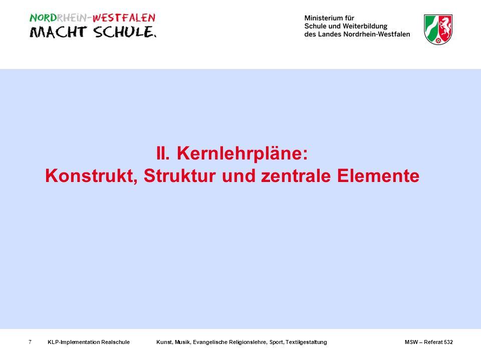 KLP-Implementation RealschuleKunst, Musik, Evangelische Religionslehre, Sport, TextilgestaltungMSW – Referat 5327 II. Kernlehrpläne: Konstrukt, Strukt