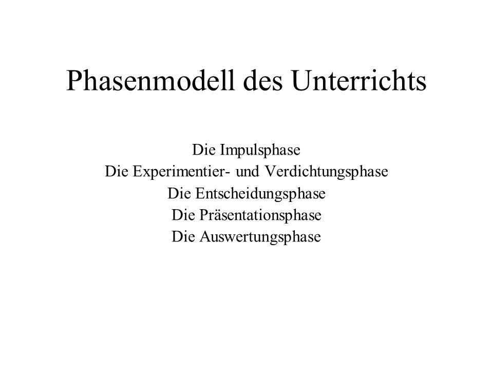 Phasenmodell des Unterrichts Die Impulsphase Die Experimentier- und Verdichtungsphase Die Entscheidungsphase Die Präsentationsphase Die Auswertungspha