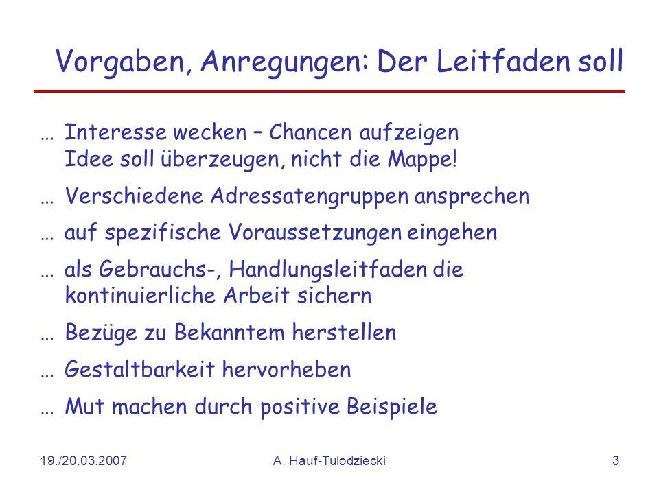 19./20.03.2007A. Hauf-Tulodziecki3 Vorgaben, Anregungen: Der Leitfaden soll …Interesse wecken – Chancen aufzeigen Idee soll überzeugen, nicht die Mapp