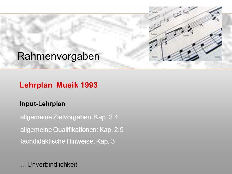 Lehrplan Musik 1993 Input-Lehrplan allgemeine Zielvorgaben: Kap. 2.4 allgemeine Qualifikationen: Kap. 2.5 fachdidaktische Hinweise: Kap. 3... Unverbin