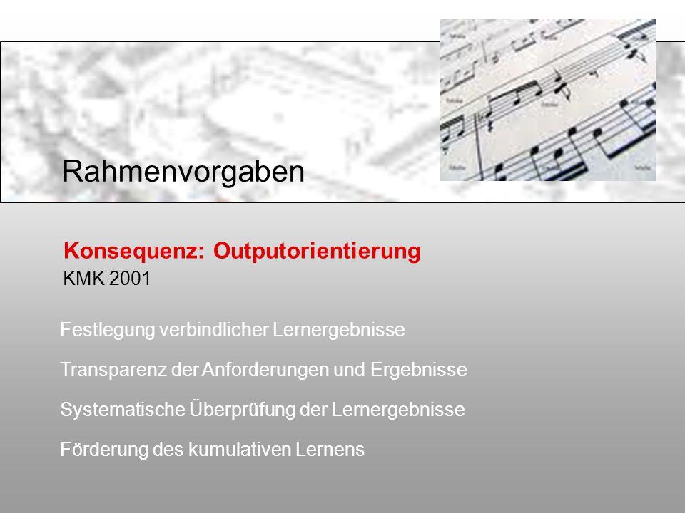 Konsequenz: Outputorientierung KMK 2001 Festlegung verbindlicher Lernergebnisse Transparenz der Anforderungen und Ergebnisse Systematische Überprüfung
