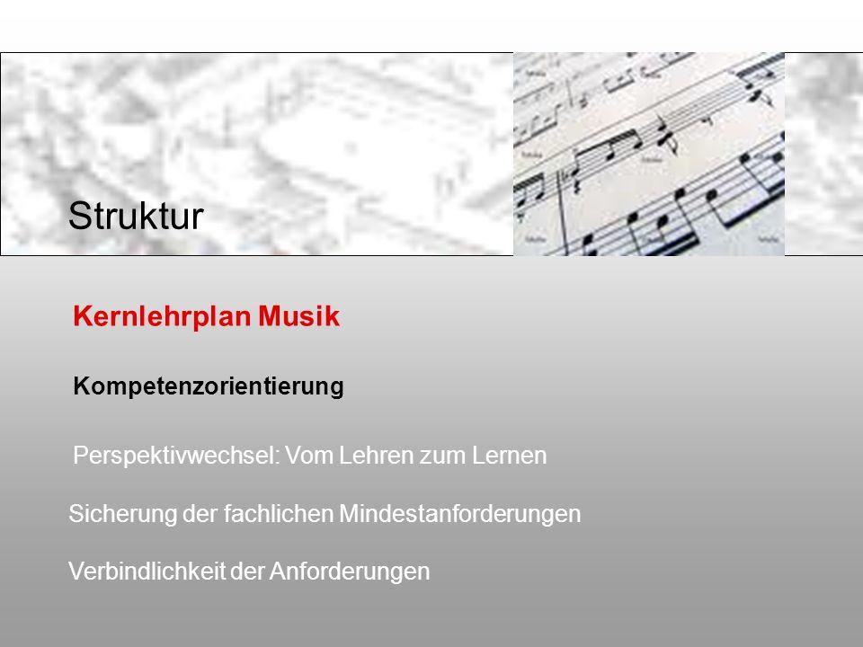 Kernlehrplan Musik Kompetenzorientierung Perspektivwechsel: Vom Lehren zum Lernen Sicherung der fachlichen Mindestanforderungen Verbindlichkeit der An