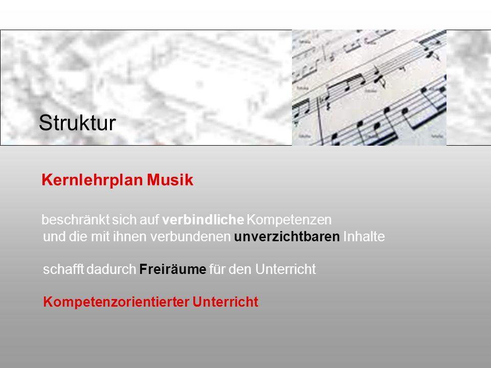 Kernlehrplan Musik beschränkt sich auf verbindliche Kompetenzen und die mit ihnen verbundenen unverzichtbaren Inhalte schafft dadurch Freiräume für de